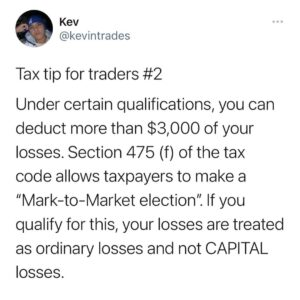 Want to deduct more than $3,000 of your trading losses?  Sec. 475(d)(3) provi…