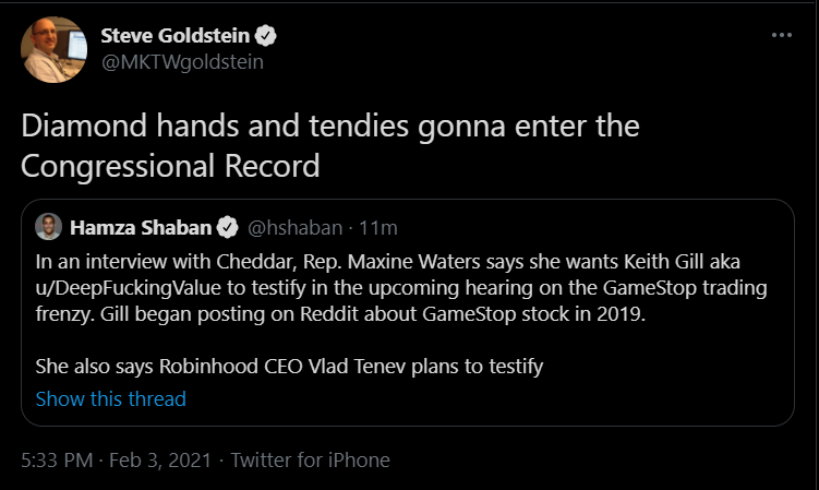 """u/DeepFuckingValue is being asked to testify in the upcoming GameStop hearing. """"Diamond hands and tendies gonna enter the Congressional Record"""""""