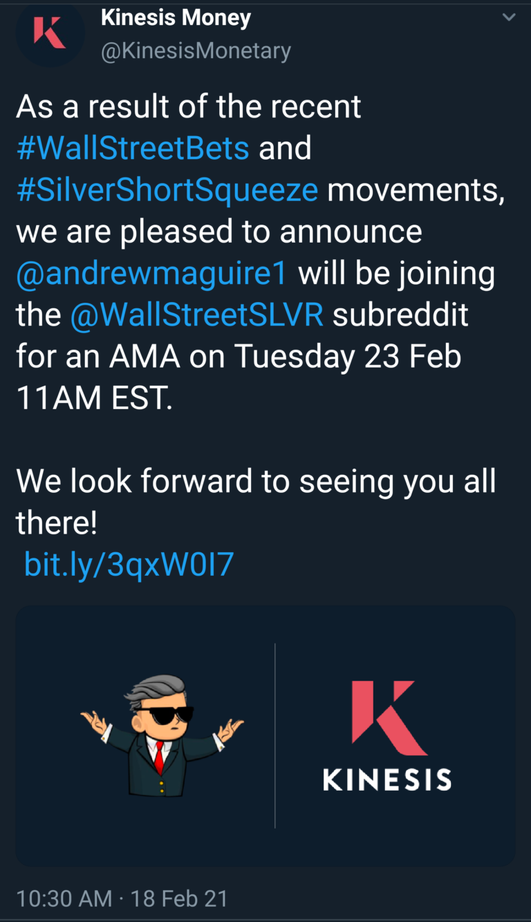 Twatter is censoring the Kinesis Money tweet announcing Andrew Maguire (Kinesis Director & OG Whistleblower on Silver Suppression) will be doing an AMA w/ WallStreetSilver on Feb 23. Removes retweets after exiting tweet (checked 5X) https://twitter.com/KinesisMonetary/status/1362424143493427211?s=19