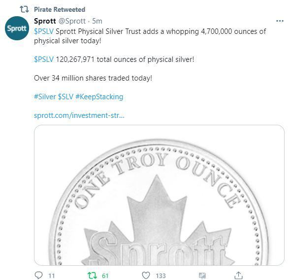 $PSLV Sprott Physical Silver Trust adds a whopping 4,700,000 ounces of physical silver today! $PSLV 120,267,971 total ounces of physical silver! Over 34 million shares traded today!