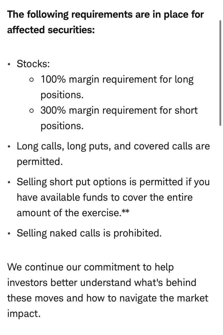 Schwab and TD Ameritrade now have a 300% margin requirement for GME shorts!