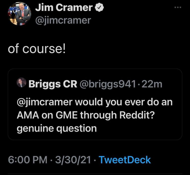 Cramer says he's down for an AMA on Reddit