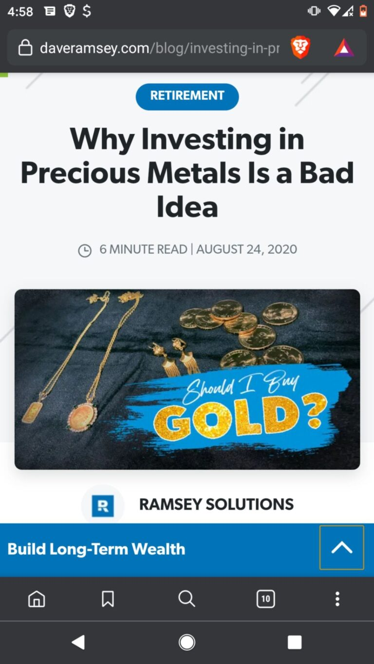 Dave Ramsey Clueless on Silver and Gold?