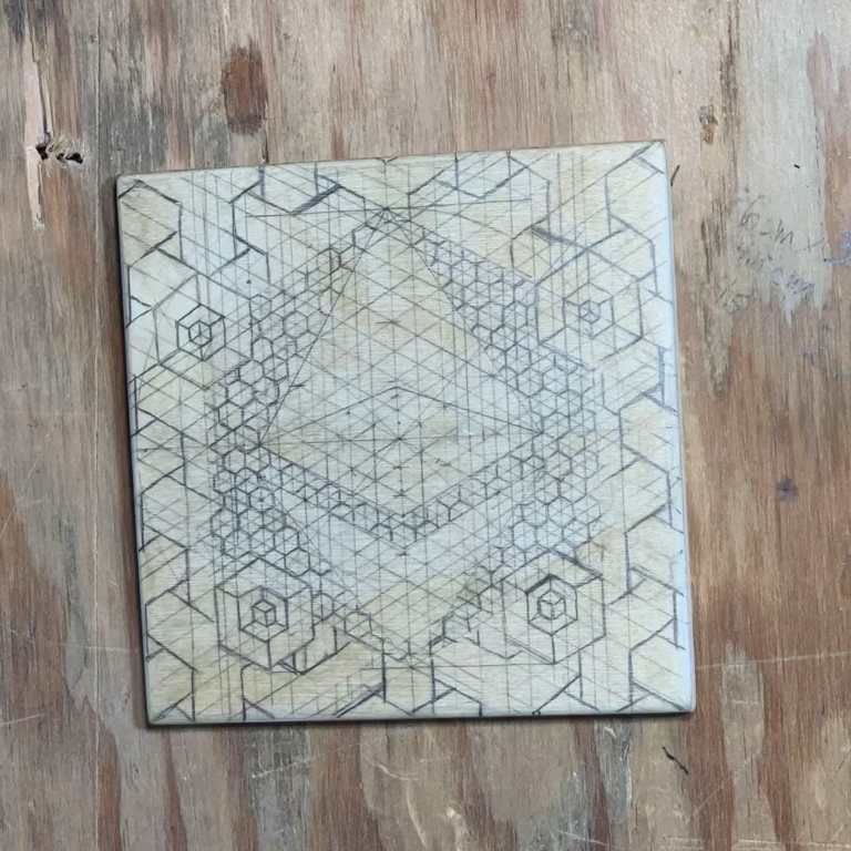 Making an Ethereum coaster! Never realized how much the logo is based on sacred geometry till I went to draw it!